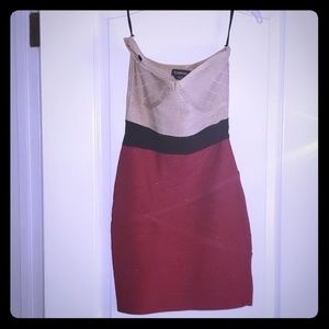 BEBE color block strapless dress